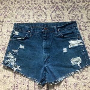 Wrangler Shorts - Wrangler Distressed Jean Shorts High Waist Raw Hem